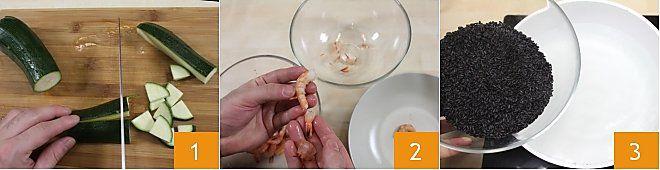 Riso Venere con gamberetti e zucchine