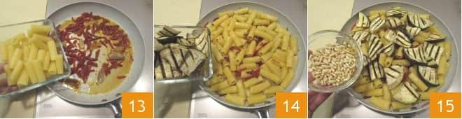 Insalata di pasta con melanzane e pomodori secchi