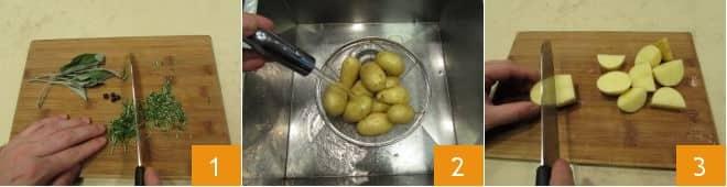 Stinco di maiale al forno con patate