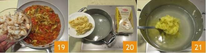 Fettuccine con carciofi e code di gambero