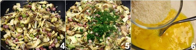Frittata di carciofi, funghi e pancetta affumicata