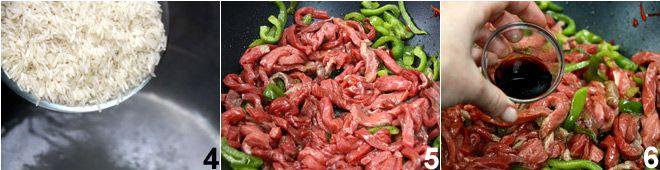 Manzo piccante con peperoni e germogli di soia