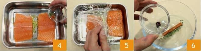 Trancio di salmone in crosta di patate e zucchine