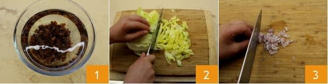 Involtini di verza ripieni di riso e scarola