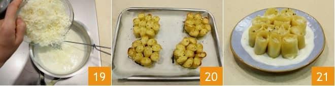 Paccheri ripieni di baccalà su fonduta di formaggio