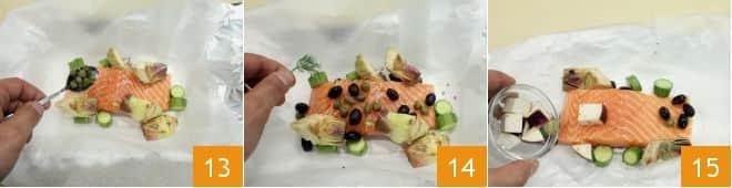 Salmone al cartoccio con verdurine miste