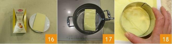 Lasagnetta aperta al salmone, zucchine e melanzane grigliate