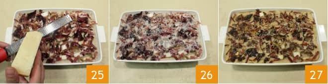 Lasagne con radicchio, crema di castagne e speck