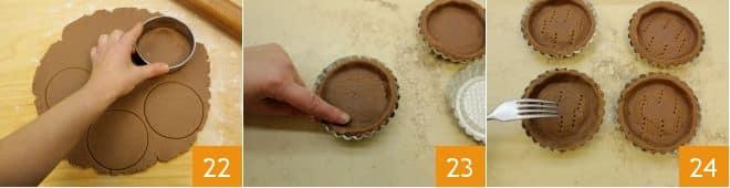 Crostatine al cacao con mandorle e crema al cioccolato