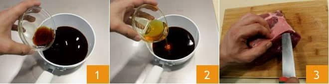 Tagliata di manzo con riduzione di salsa teriyaki e caponatina