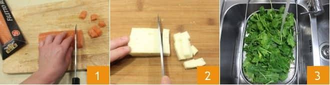 Frittata al verde con salmone, toma e salsa allo zafferano