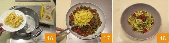 Tagliatelle con pomodorini confit, chiodini e pesto