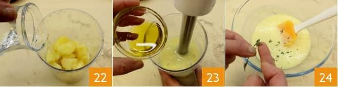Fagottino di pasta fresca al salmone, toma e radicchio su crema di patate