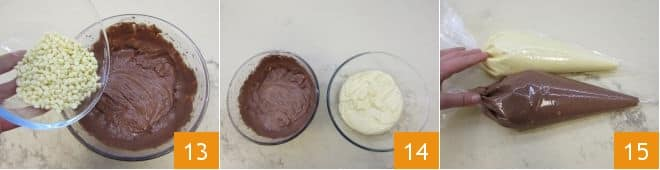 Muffin variegati al cacao con gocce di cioccolato bianco