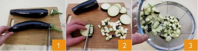 Cestini croccanti con caponata di melanzane e zucchine