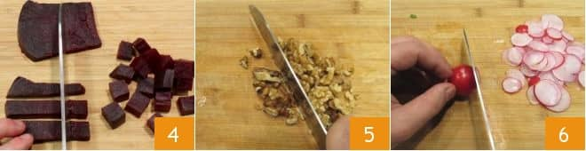 Coppette con insalata di rucola, barbabietole, noci e ravanelli