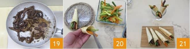 Coni con straccetti di manzo e verdure croccanti