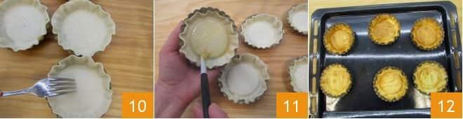Crostatine ripiene di crema pasticcera e amarene
