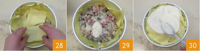Zuccotto di lasagne con verdure, fontina e prosciutto