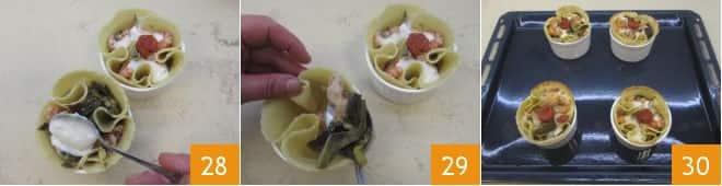 Cestino di pasta fresca con carciofi, gamberetti e pomodorini confit