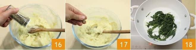 Tartellette di enkir con patate e cicoria