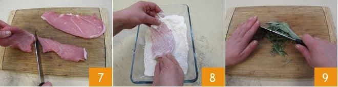 Scaloppine al rosmarino e salvia con scalogni caramellati