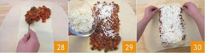 Strudel ripieno di ragù di verdure e formaggio
