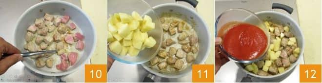 Spezzatino al sugo piccante con piselli e patate
