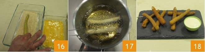 Frittura di asparagi con salsa