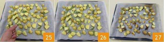 Branzino agli agrumi con patate novelle al rosmarino e zucchine prezzemolate