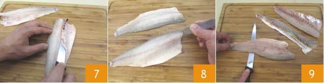 Rotolini di filetti di branzino con pancetta affumicata e zucchine grigliate al Prosecco