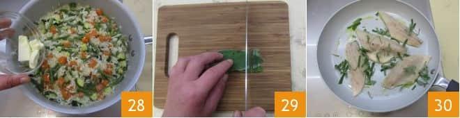 Risotto con ragù di verdure e branzino spadellato alla salvia