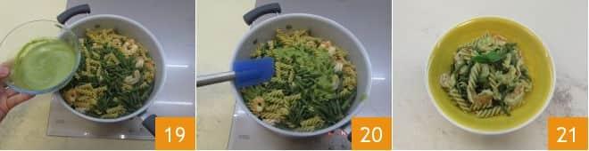 Fusilli integrali con fagiolini, code di gambero e salsa al basilico