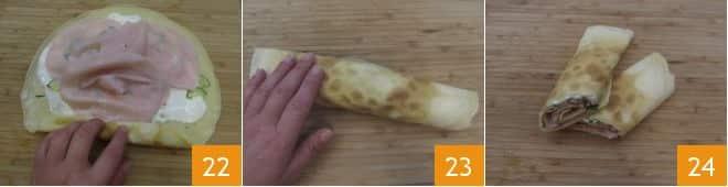 Crepes alle zucchine cotto e stracchino