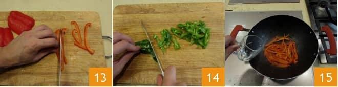 Spaghettini con manzo marinato e verdure
