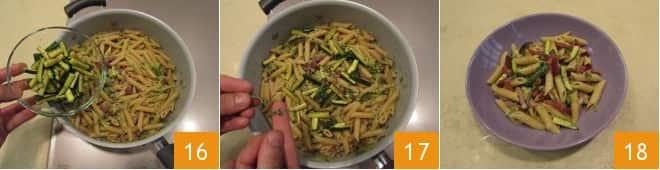Pennette con speck e zucchine