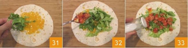 Burrito di pollo con guacamole al lime