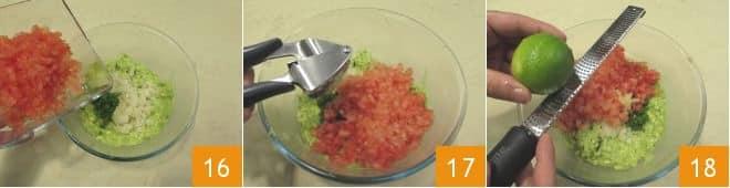 Spaghetti con guacamole e salmone croccante