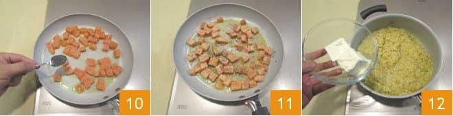 Risotto al salmone, crema di robiola e semi di papavero
