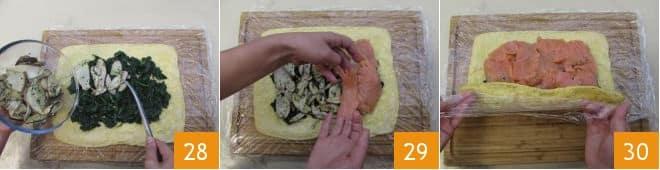 Rotolo al salmone funghi e spinaci saltati