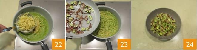 Trofie con crema di zucchine e pancetta