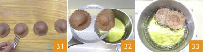 Ravioli al cacao con cuore di cioccolato bianco