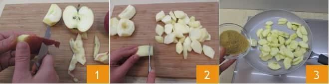 Sbriciolata di mele con salsa al cioccolato