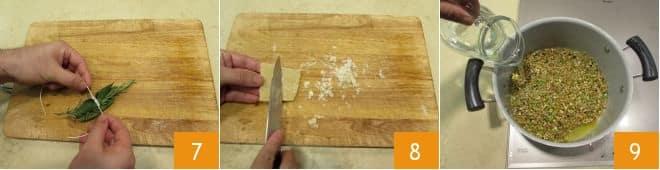 Minestra di pasta con legumi misti e alloro