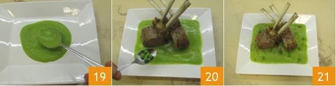Carrè di agnello su crema di piselli
