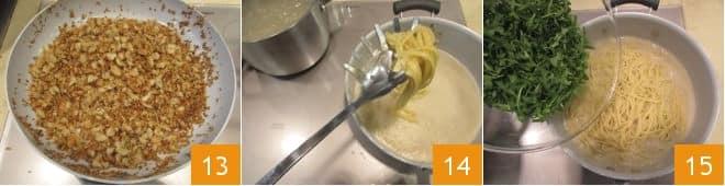 Bavette con crema di cannellini, rucola e mollica