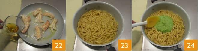 Pasta con crema di zucchine e scampi