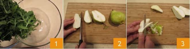 Insalata di rucola, pere, grana e noci