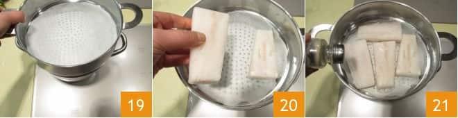 Merluzzo al vapore di curcuma con chips di verdure