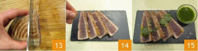 Tagliata di tonno con pesto di menta